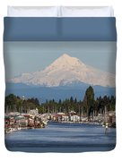 Mount Hood And Columbia River House Boats Duvet Cover