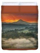 Mount Hood And Sandy River Valley Sunrise Duvet Cover