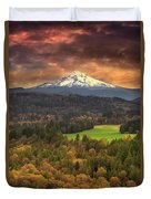 Mount Hood At Sandy River Valley In Fall Duvet Cover