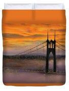 Mount Hood By St Johns Bridge During Sunrise Duvet Cover