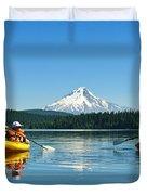 Mount Hood Kayakers Duvet Cover