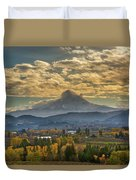 Mount Hood Over Farmland In Hood River In Fall Duvet Cover