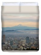 Mount Hood Over Portland Downtown Cityscape Duvet Cover