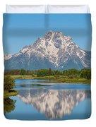 Mount Moran On Snake River Landscape Duvet Cover