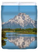 Mount Moran On Snake River Landscape Duvet Cover by Brian Harig