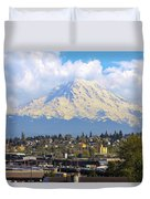 Mount Rainer Over Port Of Tacoma Duvet Cover