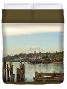 Mount Rainier From City Of Tacoma Washington Waterfront Duvet Cover