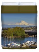 Mount Rainier From Thea Foss Waterway In Tacoma Duvet Cover