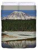 Mount Rainier Reflection Lake Duvet Cover