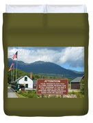 Mount Washington Nh Warning Sign Duvet Cover