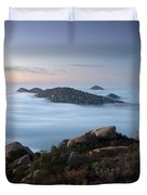Mount Woodson Above Clouds Duvet Cover