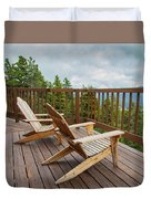 Mountain Adirondack Chairs Duvet Cover
