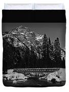 Mountain And Bridge Black And White Duvet Cover