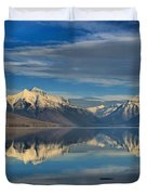 Mountain And Driftwood Reflections Duvet Cover