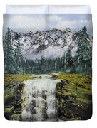 Mountain And Waterfall  Duvet Cover