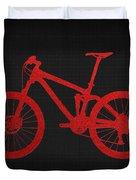 Mountain Bike - Red On Black Duvet Cover