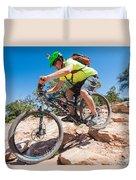 Mountain Biker On The Porcupine Rim Trail Near Moab Duvet Cover