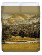 Mountain Farm With Pond In Artistic Version Duvet Cover