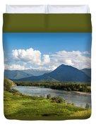 Mountain Filaretka Over Katun River. Altay Duvet Cover