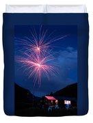 Mountain Fireworks Landscape Duvet Cover