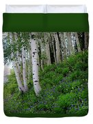 Mountain Flowers And Aspen Duvet Cover