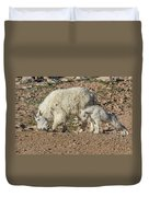 Mountain Goat Kid Stretches By Mom Duvet Cover