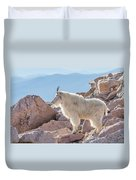 Mountain Goat Takes In Its High Altitude Home Duvet Cover