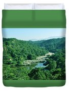 Mountain Greens And Water Duvet Cover