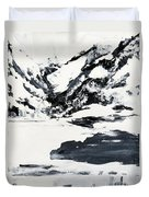 Mountain Lake In Black And White Duvet Cover