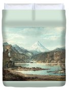 Mountain Landscape With Indians Duvet Cover