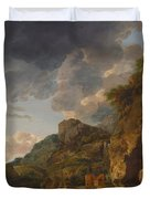 Mountain Landscape With River And Wagon Duvet Cover