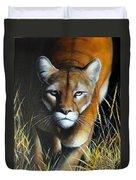 Mountain Lion In Tall Grass Duvet Cover