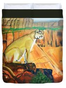 Mountain Lion In Thought Duvet Cover