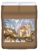Mountain Lion On The Rocks  Duvet Cover