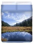 Mountain Pond And Sky Duvet Cover