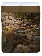 Mountain Stream With Boulders Duvet Cover
