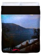 Mountain, Water And Road. Duvet Cover