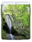 Mountain Waterfall Spring Nature Scene Duvet Cover