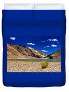 Mountains And Green Vegetation Chagor Tso - Lake Leh Ladakh Jammu Kashmir India Duvet Cover