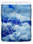 Mountains, Clouds And Geometry Duvet Cover