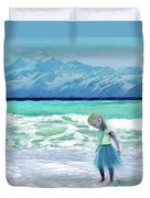 Mountains Ocean With Little Girl  Duvet Cover