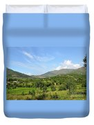 Mountains Sky And Homes In Village Of Swat Valley Khyber Pakhtoonkhwa Pakistan Duvet Cover