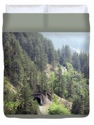 Mountains With Railroad And Tunnels  Duvet Cover
