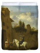 Mounted Trumpeter Taking A Drink Duvet Cover