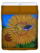 Mourning Cloak's Sunflowers Duvet Cover