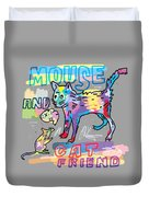 Mouse And Cat Friend Duvet Cover