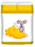 Mouse And Cheese Illustration Duvet Cover