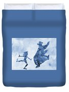 Mowgli And Baloo-blue Duvet Cover