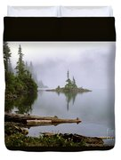 Mowich Lake In Fog  Duvet Cover