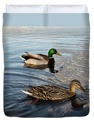 Mr And Mrs Duck On Parade Duvet Cover